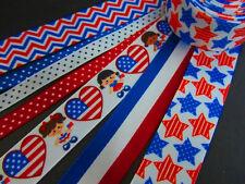 14 yards Patriotic July 4th Ribbon Mix Lot Grosgrain/Satin/Scrapbooking R-USA