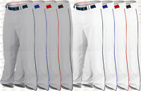 Rawlings Plated Piped Pro150 Baseball Pants Open Bottom Adult Men's White, Grey