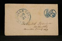 Tennessee: Nashville 1854 Stampless Cover, Blue CDS & Circled PAID 3 x 3