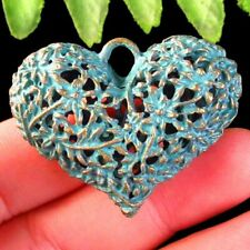 40x34x13mm Carved Brass Bronze Hollow Heart Pendant Bead SD2019723