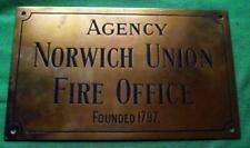 """c1900 Brass Bronze Norwich Union Fire Office Sign Plaque  12"""" X 7""""   1 Kilo"""