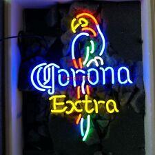 "17""x14"" Corona Extra Parrot HANDMADE REAL GLASS NEON LIGHT BEER BAR PUB SIGN"