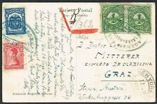 1927 Colombia Registered Barranquilla to Austria Postcard Gearwheel Cancel