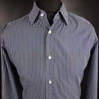 HUGO BOSS Mens Formal Shirt 41 16 LARGE Long Sleeve Blue Regular Striped Cotton