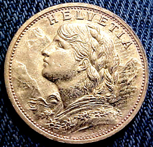 1927 SWITZERLAND 20 FRANC GOLD COIN..........MIN. BID .01 & NO RESERVE!
