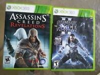 Xbox 360 Lot Assassins Creed Revelation, Star Wars The Force Unleashed