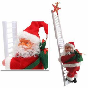 Christmas Electric Climbing Ladder Santa Claus Xmas Music Figurine Party Decor