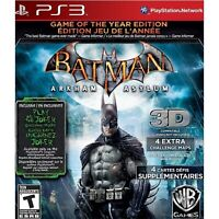 PLAYSTATION 3 PS3 GAME BATMAN ARKHAM ASYLUM GAME OF THE YEAR BRAND NEW SEALED