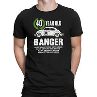 Mens 40th BIRTHDAY T-Shirt OLD BANGER 40 Years Old Joke Funny Car Gift Present