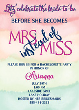 24 Bridal Shower Invitation Personalized Before She Becomes Mrs Instead of Miss