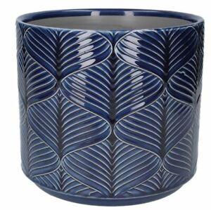 Navy Blue Wavy Wave Ceramic Stoneware Plant Pot Cover Planter, Gisela Graham