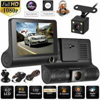"1080P 4"" Dual 3 Lens HD Car DVR Rearview Video Dash Cam G-sensor Recorder C W6Y6"