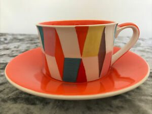 Whittard Of Chelsea Art Deco Style Cup And Saucer-Orange/Multicolour-NEW/UNUSED