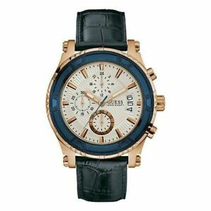 Guess Men's Watch Rose Gold Steel Leather Band Chronograph White Dial W0673G6