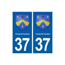 37 Civray-de-Touraine blason autocollant plaque stickers ville immatriculation a