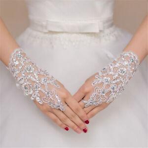 Women Bridal Wedding Gloves Party Fingerless Lace Short Paragraph Rhinestone