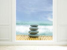 Fensterfolie Sichtschutzfolie für Badezimmer Steine Blumen Wellness Fenster Glas
