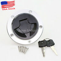 Fuel Gas Cap Cover Lock w/ Key For Kawasaki Ninja ZX14R ZX6R ZX10R Z1000 EX650