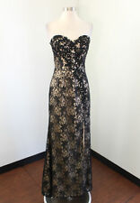 Beige Nude Black Floral Lace Strapless Prom Dress Evening Formal Gown 6 Sequin