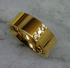 TITANIUM Gold Plated RING with 3 CZ Accent Stones in size 9 - NEW - In Gift Box