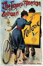AFFICHE POSTER CARTONNE PARIS FRANCE SPORT BICYCLETTE BICYCLE VELO FRANCO