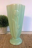 "Vintage McCoy Art Pottery Vase Mint Green Flowers 8""  Rare Design 592 Daffodil"