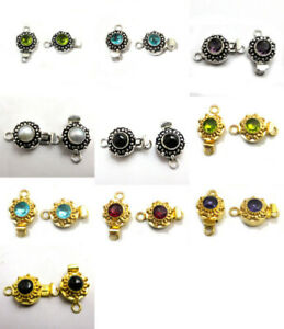 1 PC GEM STONE ROUND BALI BOX CLASP 1 STRAND STERLING SILVER PLATED 623