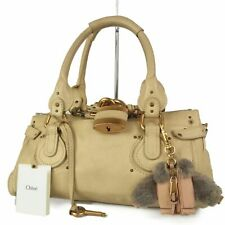 Auth Chloe Paddington Logos Leather Hand Bag w/Charm Italy F/S 10495bkac