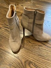COACH Mason Beige Suede High Heel Booties w Buckle accent, size 6 M