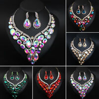 Luxury Crystal Water Drop Necklace Earrings Fashion Pendant Jewelry Set Bridal