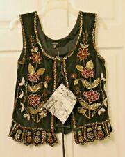 NEW J. Peterman Black Velvet Beaded Corset Vest Size 12 Renaissane Fair Costume