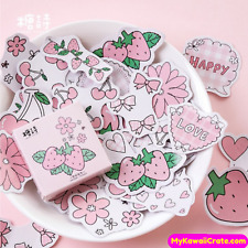 Kawaii Strawberry Flavor Stickers ~ Pink Stickers, Girly Stickers, Cute Stickers