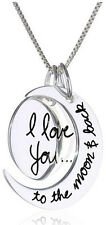 I Love You To The Moon And Back Silver Tone Necklace Holiday Gift Trendy Unisex
