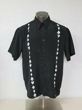 M.E. SPORT Poker Short Sleeve Button Front Black Shirt Size L Polyester Cards