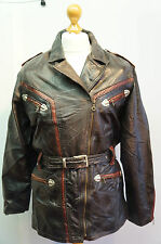 VINTAGE REAL LEATHER MOTORCYCLE JACKET SIZE 42 MADE IN ITALY