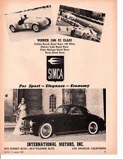 1952 SIMCA / INTERNATIONAL MOTORS INC  ~  CLASSIC ORIGINAL PRINT AD