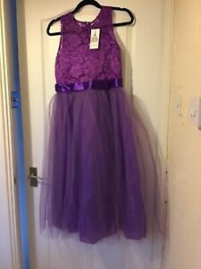 STUNNING Cadbury purple flower girl dress - suit approx Age 8