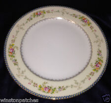 "MEITO CHINA V2144 DINNER PLATE 9 7/8"" BLUE & YELLOW BORDER FLORAL SPRAYS GOLD"