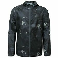 Asics Mens Sports Hooded Windbreaker Printed Jacket Camo Black 152409 1022