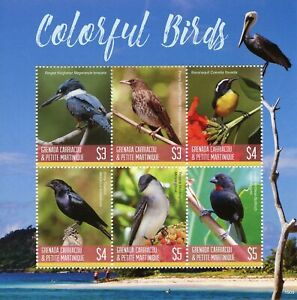 Grenadines Grenada Stamps 2019 MNH Colorful Birds Kingfishers Finches 6v M/S