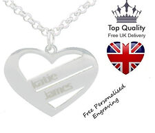 Silver Jewellery Gift Heart of Love Personalised Necklace Up To 2 Names Engraved