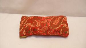 Vintage Cloth Eyeglasses Case / Sleeve - Red with Gold & Green Paisley Design