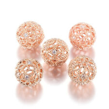 5pcs Brass Cubic Zirconia Filigree Beads Rose Gold Hollow Ball Loose Beads 12mm