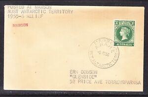Australia  AAT 1956 Mawson Base Cancellation Cover (toned)