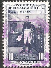 El Salvador Air Post Stamp - Scott #C153/AP44 10c Gray Blue Canc/LH 1954