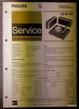 PHILIPS Service Dokumentation 22 GF 351, 02/1974, original + komplett