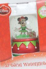 Disney Musical Minnie Mouse Elf Santa Hat Christmas Waterglobe Snow Globe in Box
