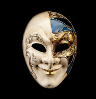 Maschera Joker Di Venezia Dorata E Blu Per Travestimento O La Festa 784 V41