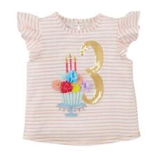 Mud Pie Kids Girls 3rd Birthday Top Shirt Cake with Gold Sequin 3
