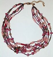 Signed Chico's multi-strand pretty pink glass, acrylic, metallic beads necklace